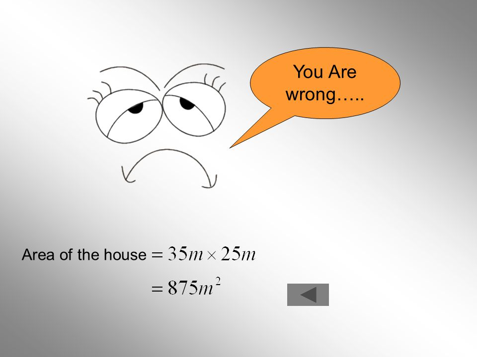 You Are wrong….. Area of the house