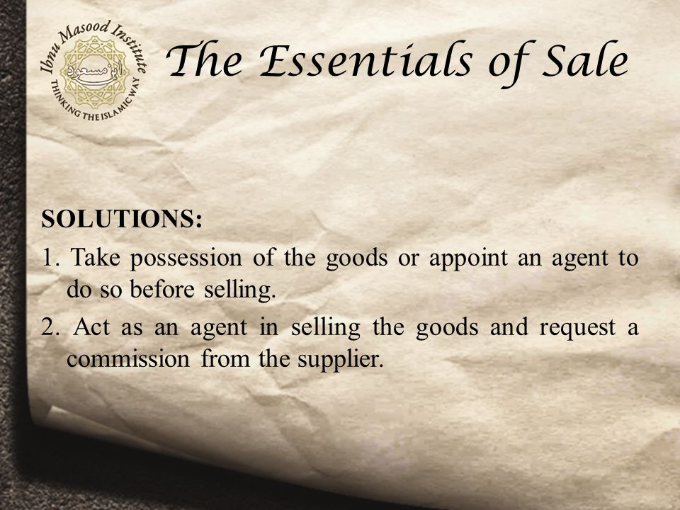The Essentials of Sale SOLUTIONS: 1.