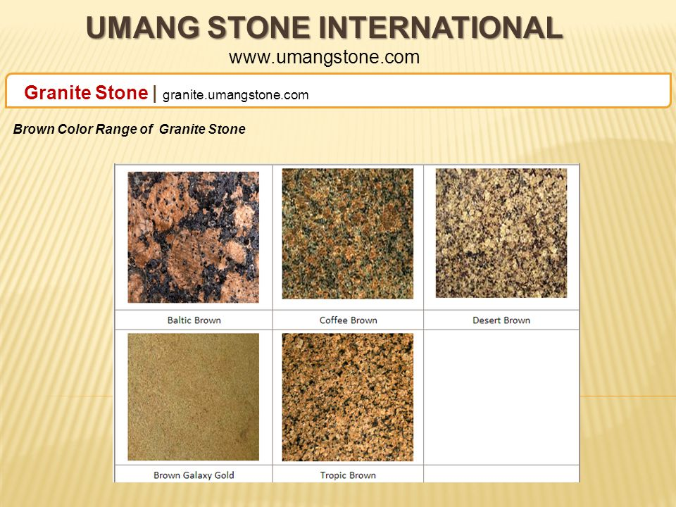 UMANG STONE INTERNATIONAL UMANG STONE INTERNATIONAL www.umangstone.com Granite Stone | granite.umangstone.com Classic Granite Stone Collection Granite Products Range