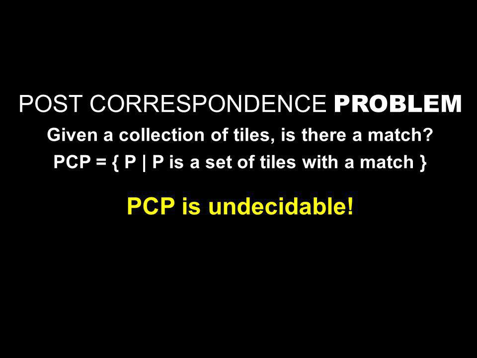 POST CORRESPONDENCE PROBLEM Given a collection of tiles, is there a match.