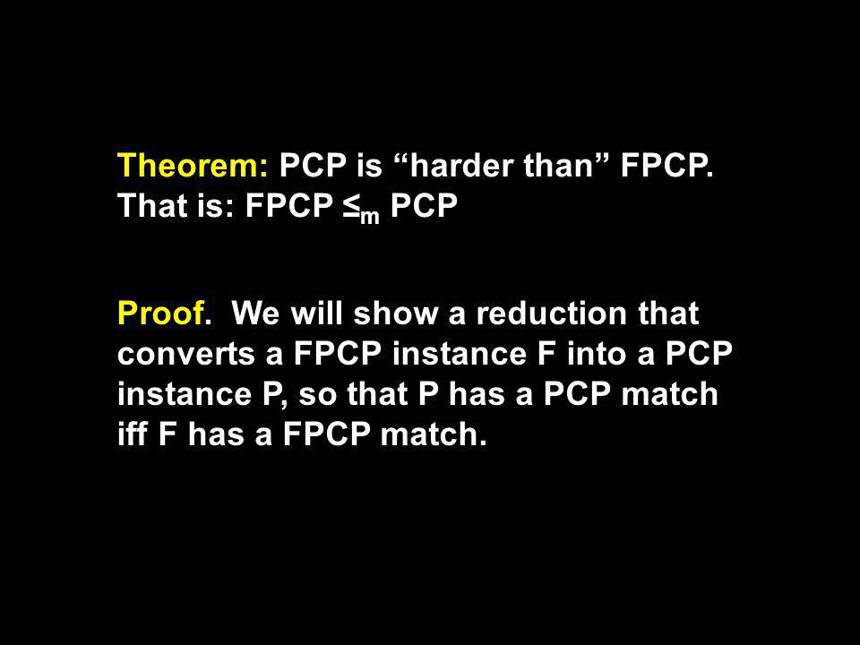 Theorem: PCP is harder than FPCP. That is: FPCP m PCP Proof.