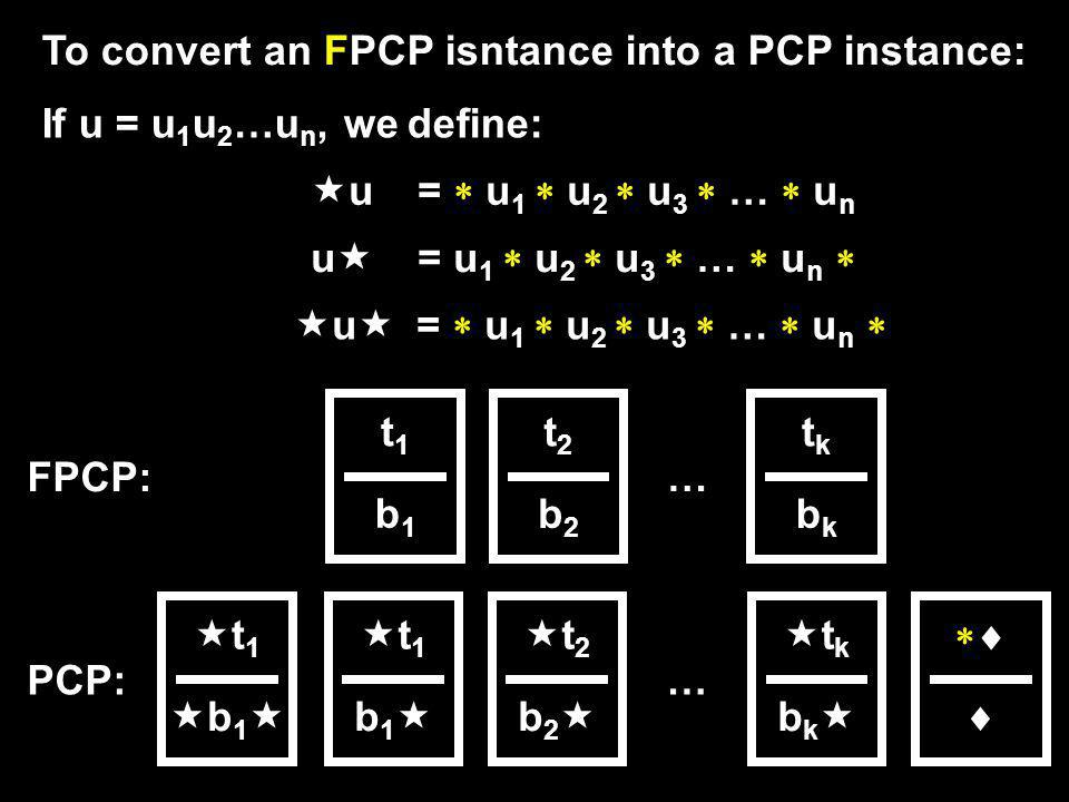 To convert an FPCP isntance into a PCP instance: If u = u 1 u 2 …u n, we define: u = u 1 u 2 u 3 … u n t1t1 b1b1 … t2t2 b2b2 tktk bkbk t 1 b 1 t 1 b 1 t 2 b 2 t k b k … FPCP: PCP: