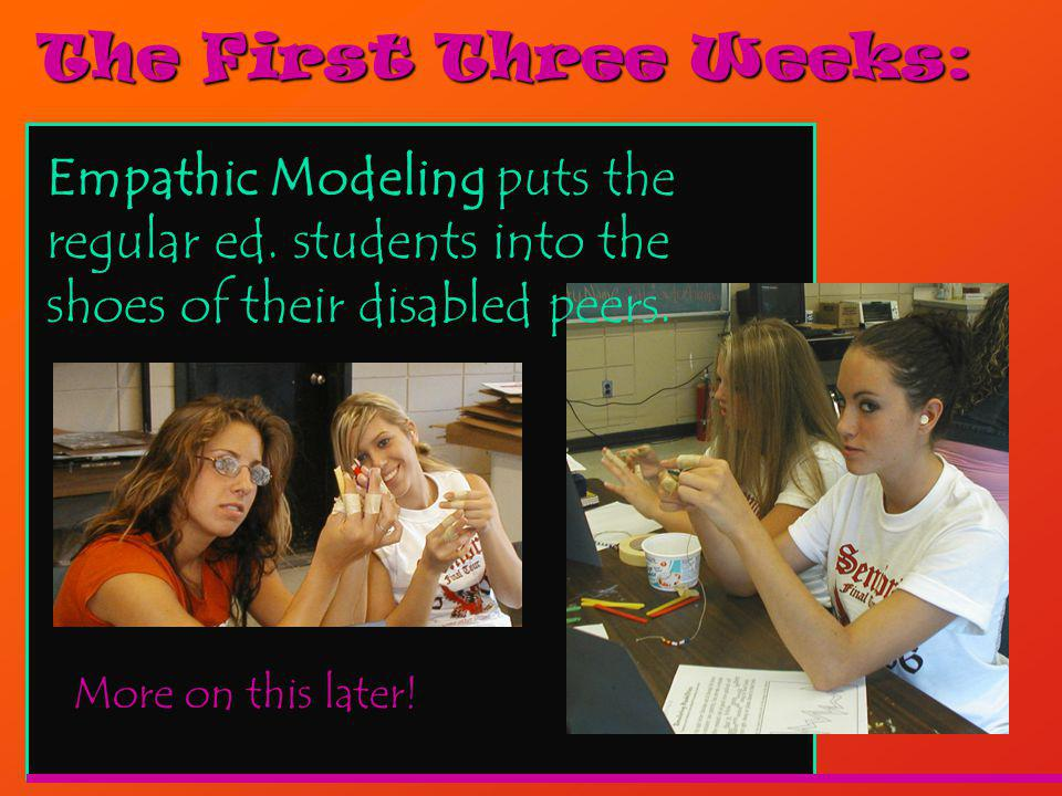The First Three Weeks: More on this later. Empathic Modeling puts the regular ed.