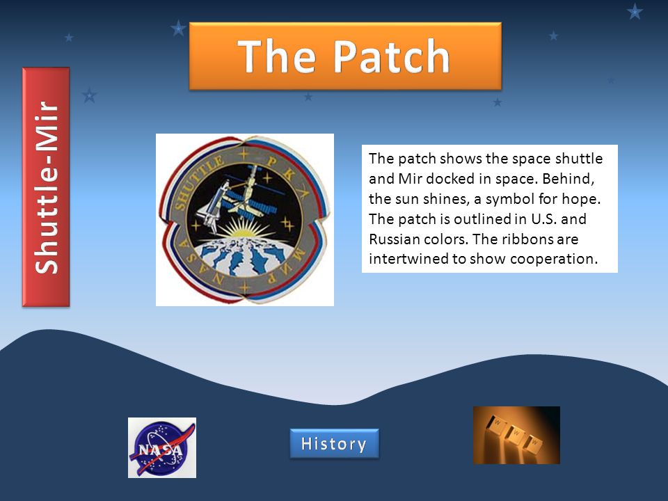 The patch shows the space shuttle and Mir docked in space.