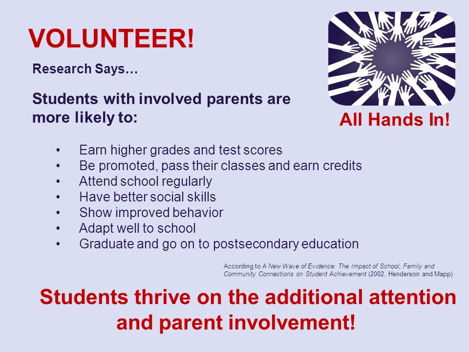 Research Says… Students with involved parents are more likely to: Earn higher grades and test scores Be promoted, pass their classes and earn credits Attend school regularly Have better social skills Show improved behavior Adapt well to school Graduate and go on to postsecondary education VOLUNTEER.