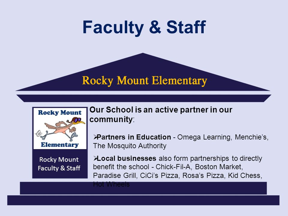 Rocky Mount Faculty & Staff Faculty & Staff Our School is an active partner in our community: Partners in Education - Omega Learning, Menchies, The Mosquito Authority Local businesses also form partnerships to directly benefit the school - Chick-Fil-A, Boston Market, Paradise Grill, CiCis Pizza, Rosas Pizza, Kid Chess, Hot Wheels