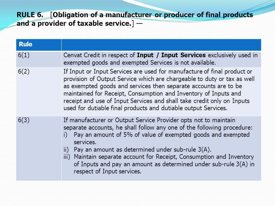 Rule 6(1)Cenvat Credit in respect of Input / Input Services exclusively used in exempted goods and exempted Services is not available.