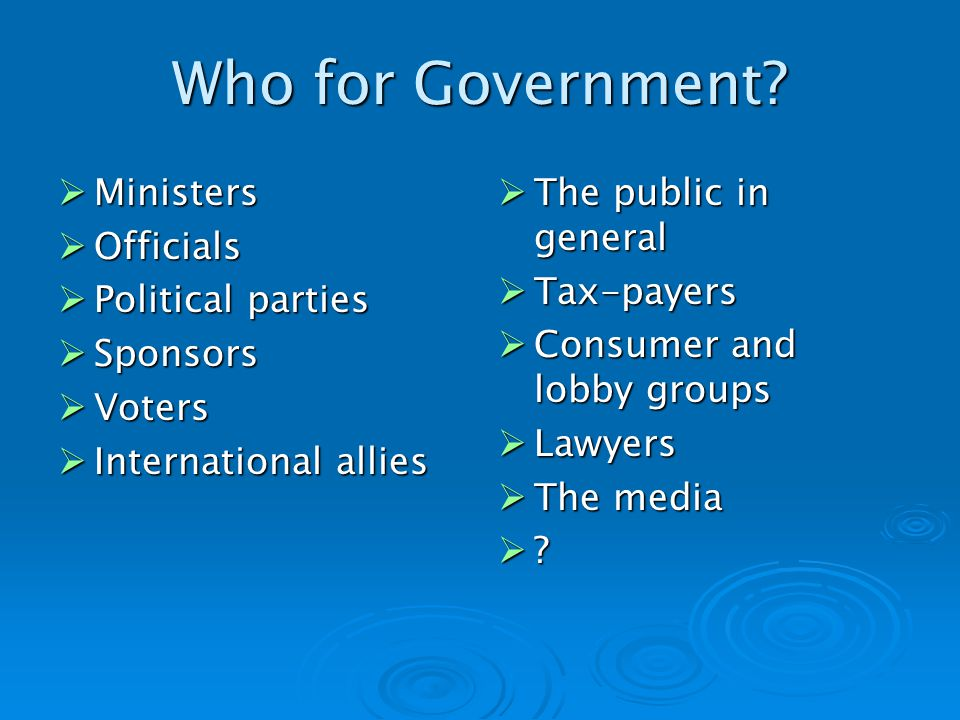 Who for Government.