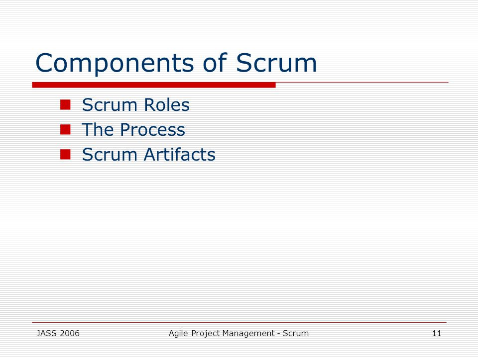 JASS 2006Agile Project Management - Scrum11 Components of Scrum Scrum Roles The Process Scrum Artifacts