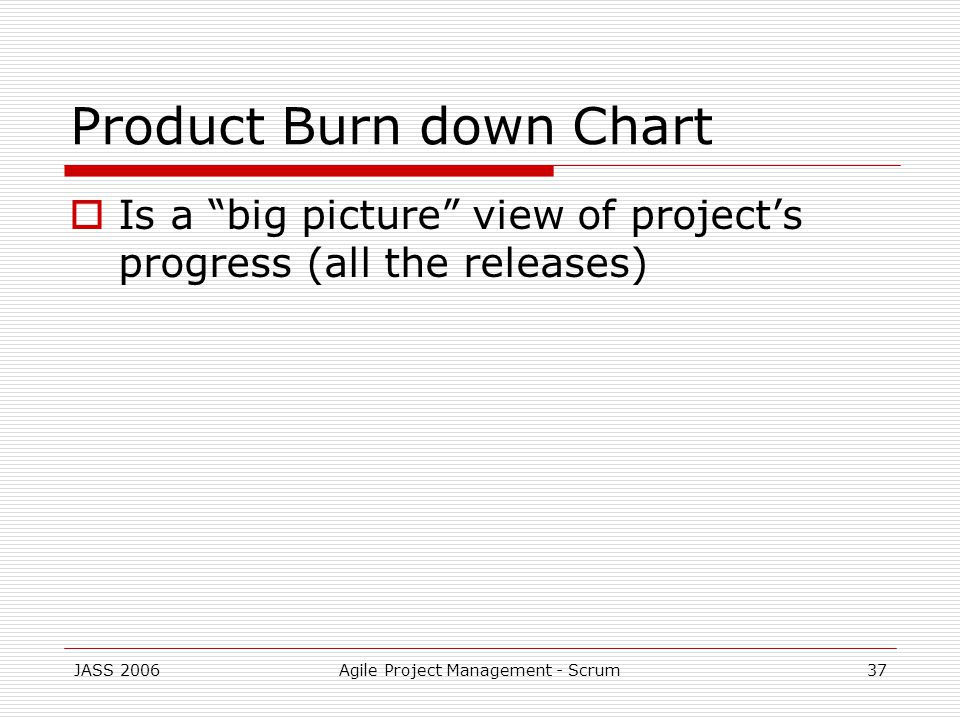JASS 2006Agile Project Management - Scrum37 Product Burn down Chart Is a big picture view of projects progress (all the releases)