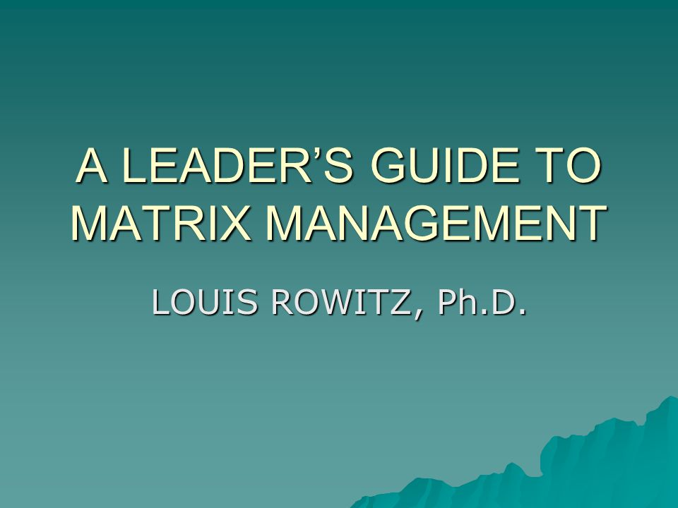 A LEADERS GUIDE TO MATRIX MANAGEMENT LOUIS ROWITZ, Ph.D.