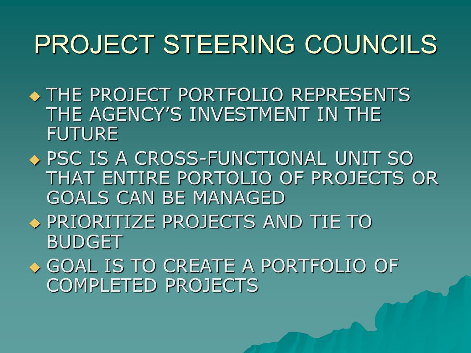 PROJECT STEERING COUNCILS THE PROJECT PORTFOLIO REPRESENTS THE AGENCYS INVESTMENT IN THE FUTURE THE PROJECT PORTFOLIO REPRESENTS THE AGENCYS INVESTMENT IN THE FUTURE PSC IS A CROSS-FUNCTIONAL UNIT SO THAT ENTIRE PORTOLIO OF PROJECTS OR GOALS CAN BE MANAGED PSC IS A CROSS-FUNCTIONAL UNIT SO THAT ENTIRE PORTOLIO OF PROJECTS OR GOALS CAN BE MANAGED PRIORITIZE PROJECTS AND TIE TO BUDGET PRIORITIZE PROJECTS AND TIE TO BUDGET GOAL IS TO CREATE A PORTFOLIO OF COMPLETED PROJECTS GOAL IS TO CREATE A PORTFOLIO OF COMPLETED PROJECTS