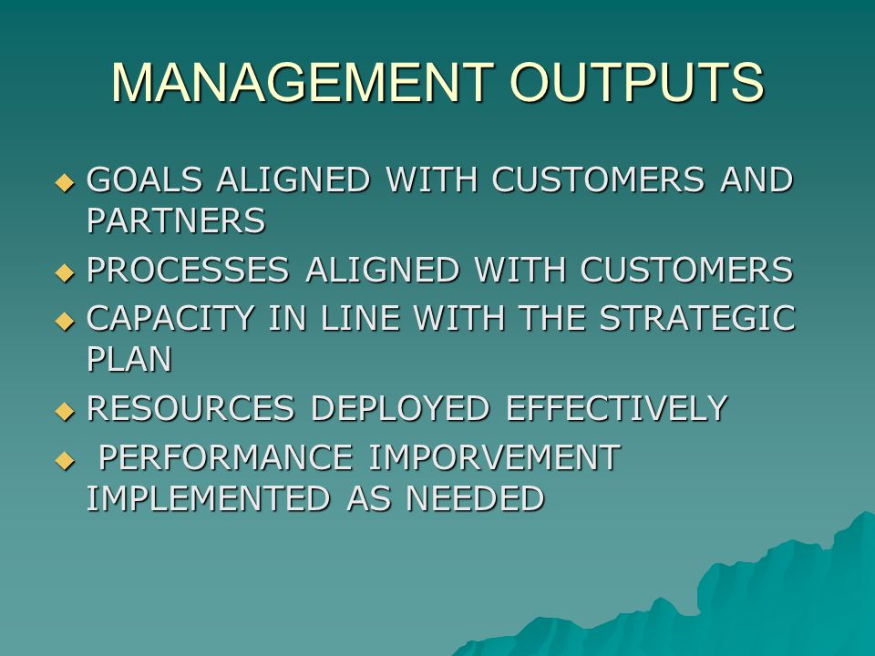 MANAGEMENT OUTPUTS GOALS ALIGNED WITH CUSTOMERS AND PARTNERS GOALS ALIGNED WITH CUSTOMERS AND PARTNERS PROCESSES ALIGNED WITH CUSTOMERS PROCESSES ALIGNED WITH CUSTOMERS CAPACITY IN LINE WITH THE STRATEGIC PLAN CAPACITY IN LINE WITH THE STRATEGIC PLAN RESOURCES DEPLOYED EFFECTIVELY RESOURCES DEPLOYED EFFECTIVELY PERFORMANCE IMPORVEMENT IMPLEMENTED AS NEEDED PERFORMANCE IMPORVEMENT IMPLEMENTED AS NEEDED