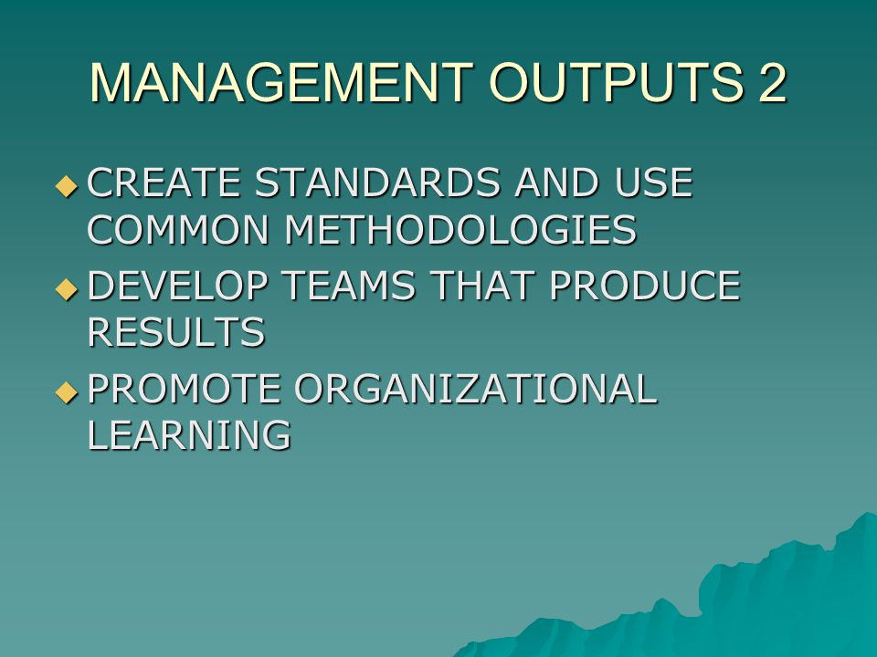 MANAGEMENT OUTPUTS 2 CREATE STANDARDS AND USE COMMON METHODOLOGIES CREATE STANDARDS AND USE COMMON METHODOLOGIES DEVELOP TEAMS THAT PRODUCE RESULTS DEVELOP TEAMS THAT PRODUCE RESULTS PROMOTE ORGANIZATIONAL LEARNING PROMOTE ORGANIZATIONAL LEARNING