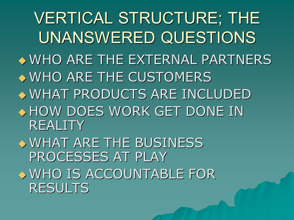 VERTICAL STRUCTURE; THE UNANSWERED QUESTIONS WHO ARE THE EXTERNAL PARTNERS WHO ARE THE EXTERNAL PARTNERS WHO ARE THE CUSTOMERS WHO ARE THE CUSTOMERS WHAT PRODUCTS ARE INCLUDED WHAT PRODUCTS ARE INCLUDED HOW DOES WORK GET DONE IN REALITY HOW DOES WORK GET DONE IN REALITY WHAT ARE THE BUSINESS PROCESSES AT PLAY WHAT ARE THE BUSINESS PROCESSES AT PLAY WHO IS ACCOUNTABLE FOR RESULTS WHO IS ACCOUNTABLE FOR RESULTS