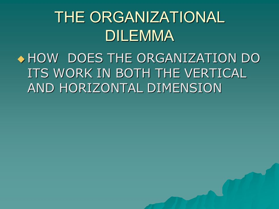 THE ORGANIZATIONAL DILEMMA HOW DOES THE ORGANIZATION DO ITS WORK IN BOTH THE VERTICAL AND HORIZONTAL DIMENSION HOW DOES THE ORGANIZATION DO ITS WORK IN BOTH THE VERTICAL AND HORIZONTAL DIMENSION