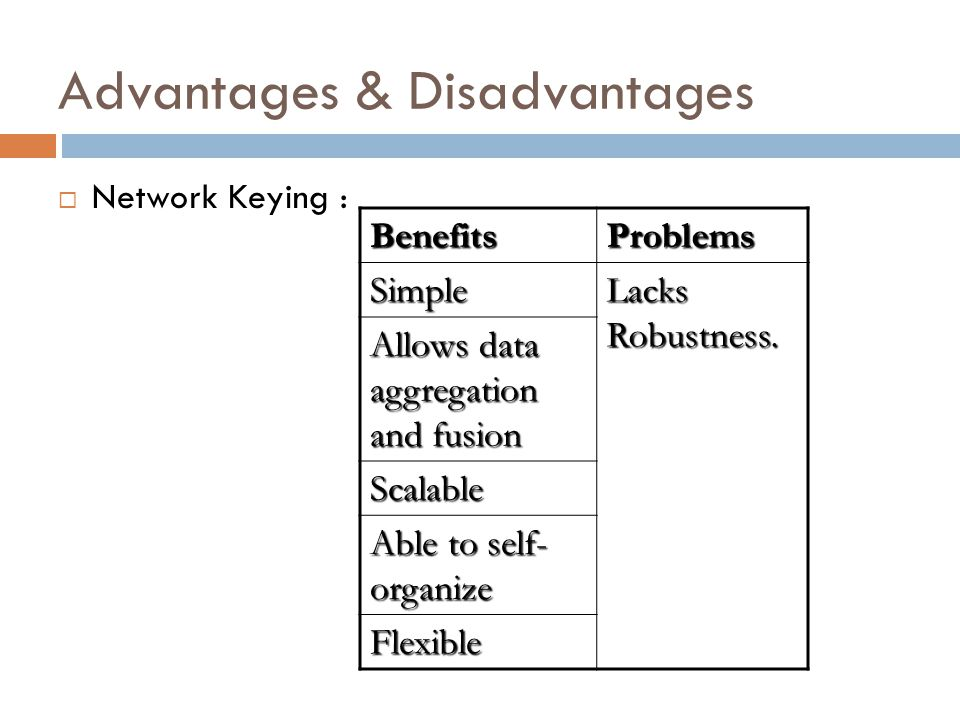 Advantages & Disadvantages Network Keying : BenefitsProblems Simple Lacks Robustness.