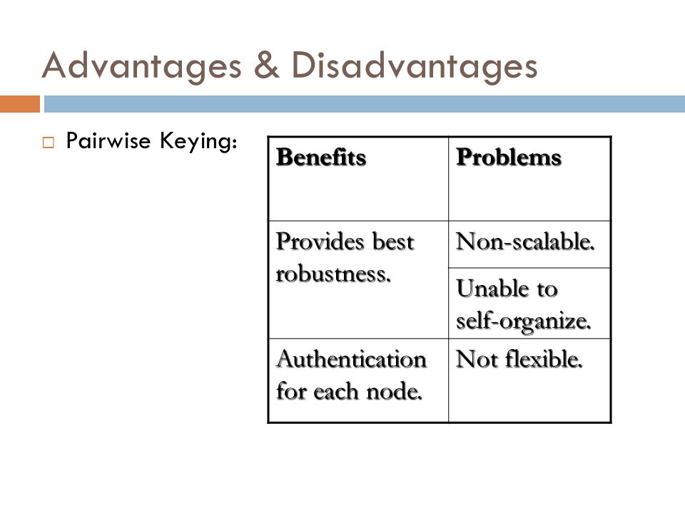 Advantages & Disadvantages Pairwise Keying: BenefitsProblems Provides best robustness.