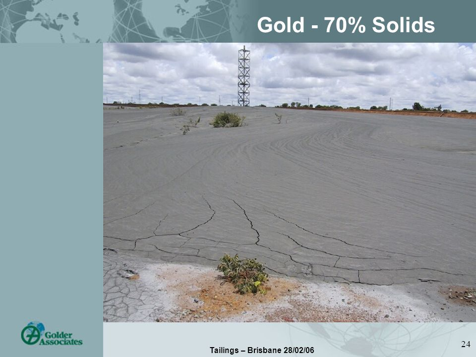 Tailings – Brisbane 28/02/06 24 Gold - 70% Solids