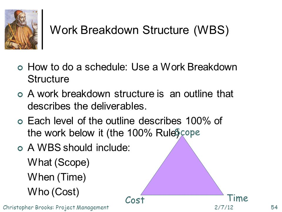 Work Breakdown Structure (WBS) How to do a schedule: Use a Work Breakdown Structure A work breakdown structure is an outline that describes the deliverables.