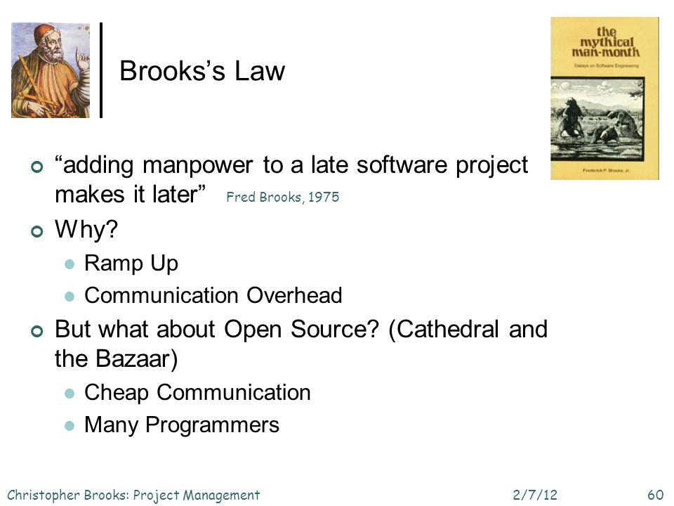 Brookss Law adding manpower to a late software project makes it later Why.