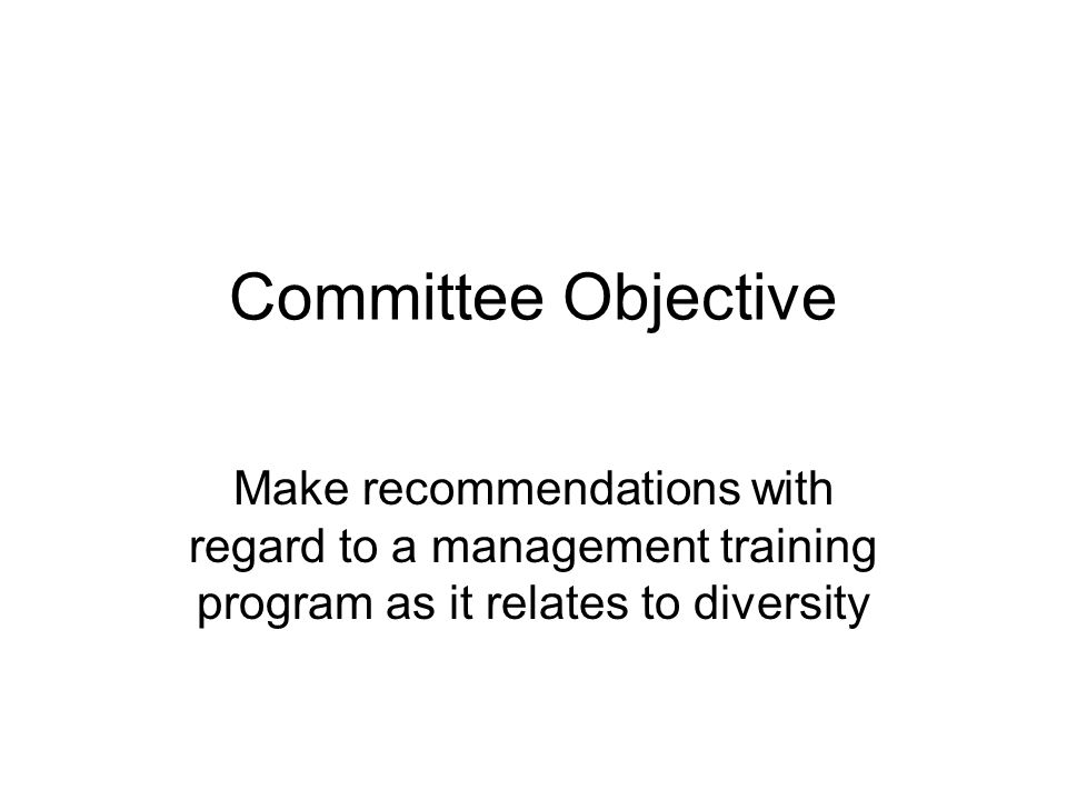 Committee Objective Make recommendations with regard to a management training program as it relates to diversity