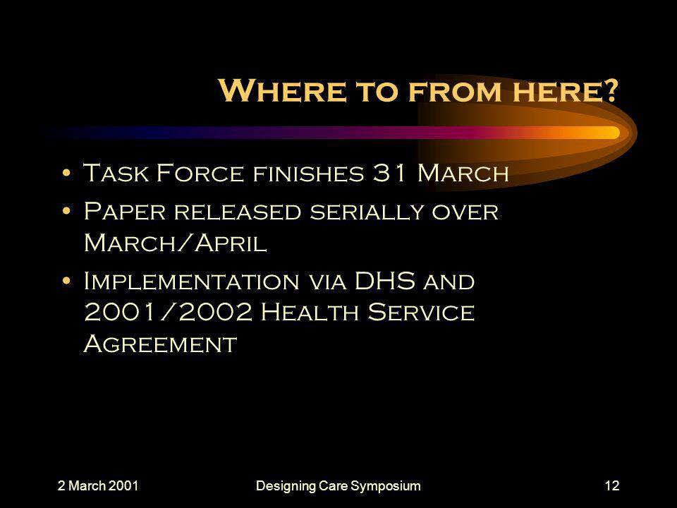 2 March 2001Designing Care Symposium12 Where to from here.