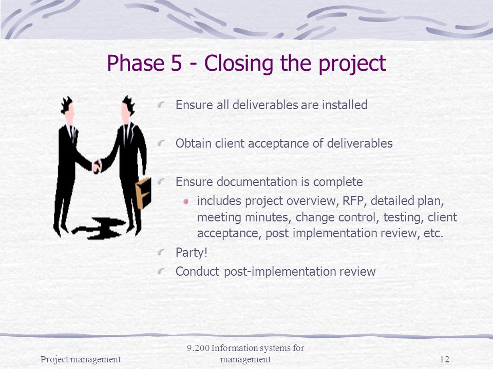 Project management 9.200 Information systems for management11 Reporting on project progress: Gantt charts (task bars over time line) Milestone charts (main tasks accomplishment) Costs/Budget, allocations to workers (finances) Conduct regular status review meetings