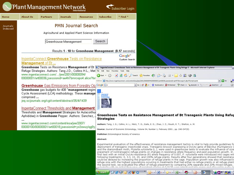 Plant Management Network PMN Cross-Journal Search