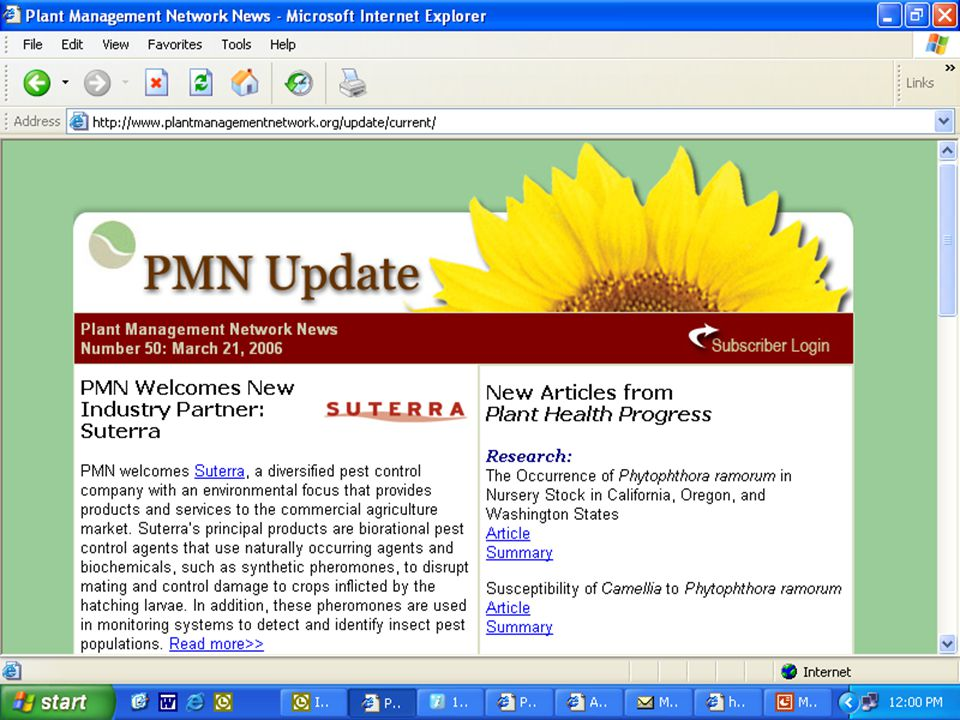Plant Management Network PMN Update News