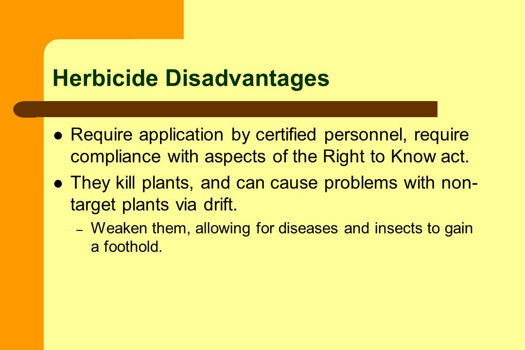 Herbicide Disadvantages Require application by certified personnel, require compliance with aspects of the Right to Know act.
