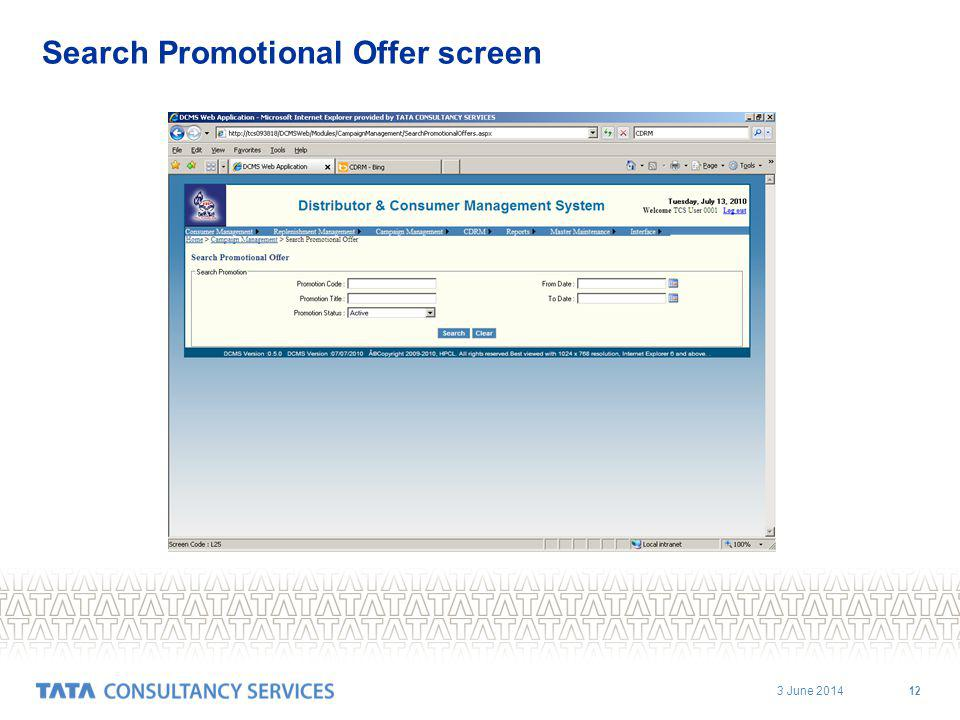 3 June 2014 12 Search Promotional Offer screen