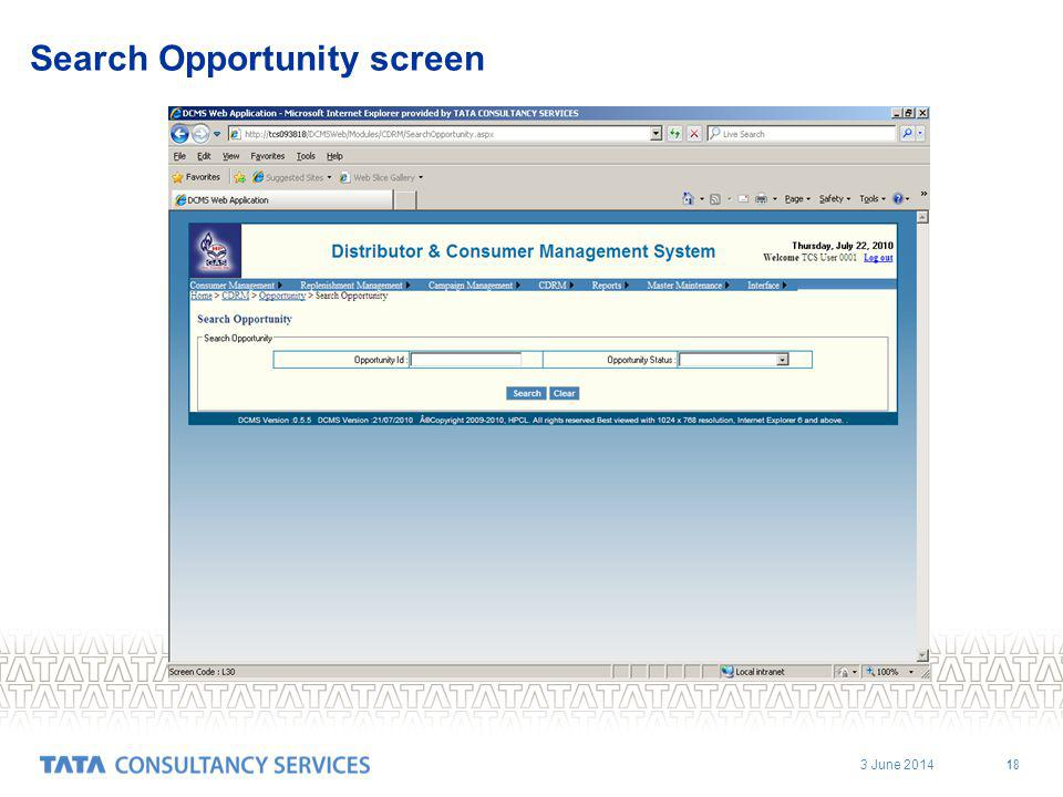 3 June 2014 18 Search Opportunity screen