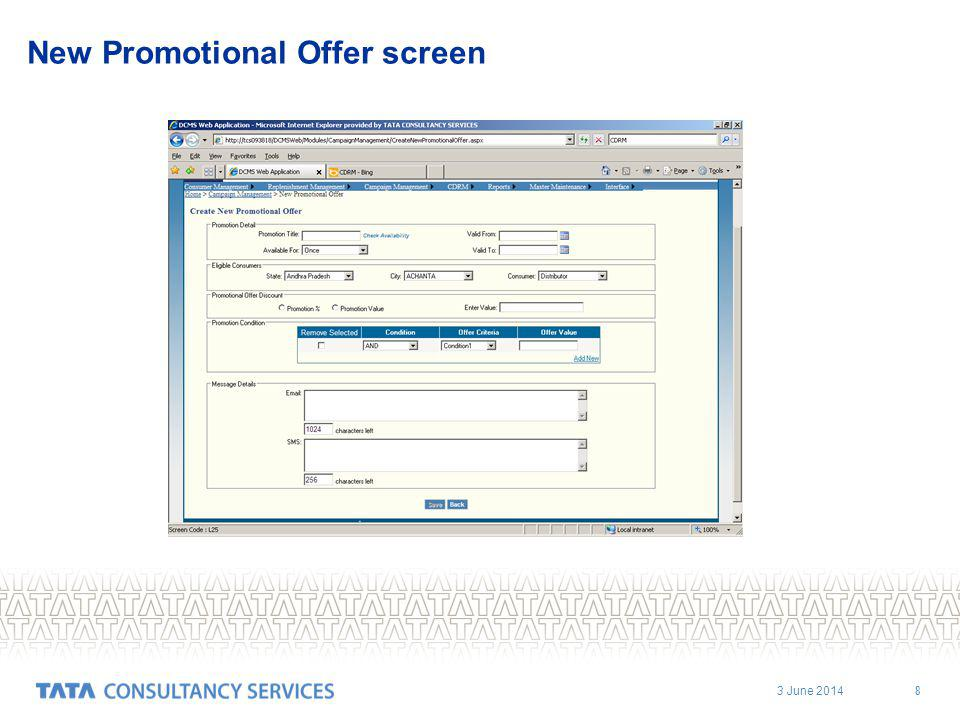 3 June 2014 8 New Promotional Offer screen