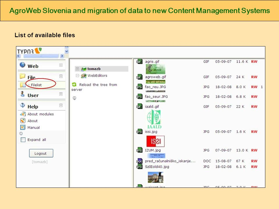 AgroWeb Slovenia and migration of data to new Content Management Systems List of available files