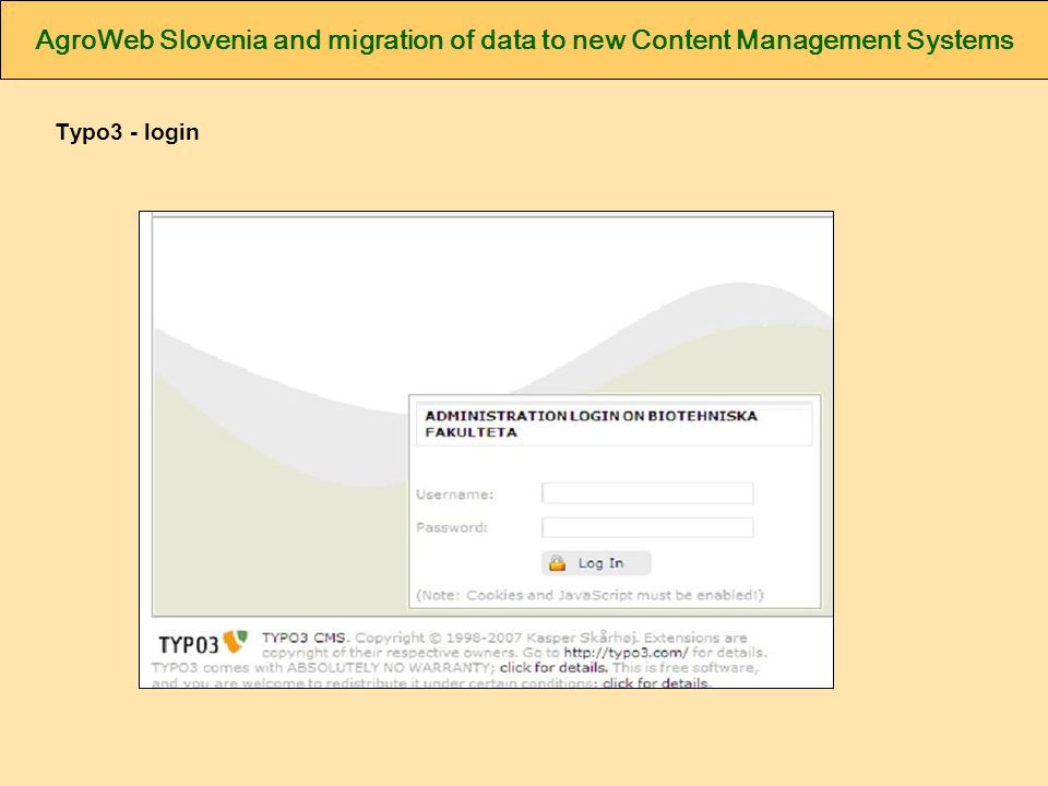 AgroWeb Slovenia and migration of data to new Content Management Systems Typo3 - login