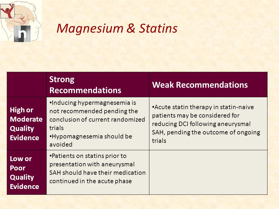 Magnesium & Statins Strong Recommendations Weak Recommendations High or Moderate Quality Evidence Inducing hypermagnesemia is not recommended pending the conclusion of current randomized trials Hypomagnesemia should be avoided Acute statin therapy in statin-naive patients may be considered for reducing DCI following aneurysmal SAH, pending the outcome of ongoing trials Low or Poor Quality Evidence Patients on statins prior to presentation with aneurysmal SAH should have their medication continued in the acute phase
