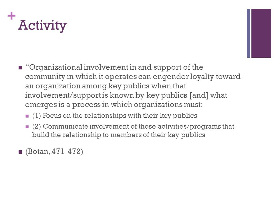 + Activity Organizational involvement in and support of the community in which it operates can engender loyalty toward an organization among key publics when that involvement/support is known by key publics [and] what emerges is a process in which organizations must: (1) Focus on the relationships with their key publics (2) Communicate involvement of those activities/programs that build the relationship to members of their key publics (Botan, 471-472)