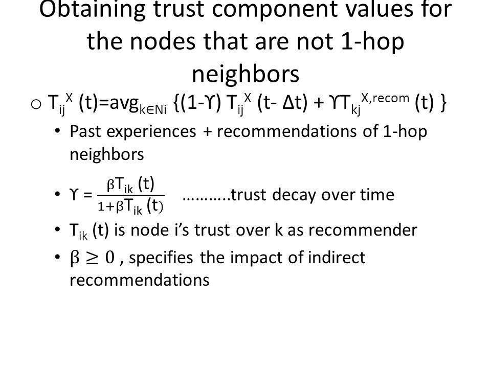 Obtaining trust component values for the nodes that are not 1-hop neighbors