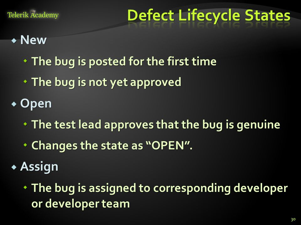 New New The bug is posted for the first time The bug is posted for the first time The bug is not yet approved The bug is not yet approved Open Open The test lead approves that the bug is genuine The test lead approves that the bug is genuine Changes the state as OPEN.