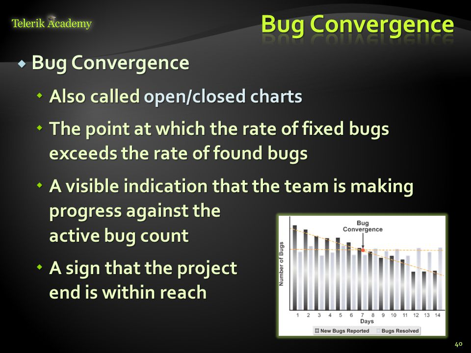 Bug Convergence Bug Convergence Also called open/closed charts Also called open/closed charts The point at which the rate of fixed bugs exceeds the rate of found bugs The point at which the rate of fixed bugs exceeds the rate of found bugs A visible indication that the team is making progress against the active bug count A visible indication that the team is making progress against the active bug count A sign that the project end is within reach A sign that the project end is within reach 40