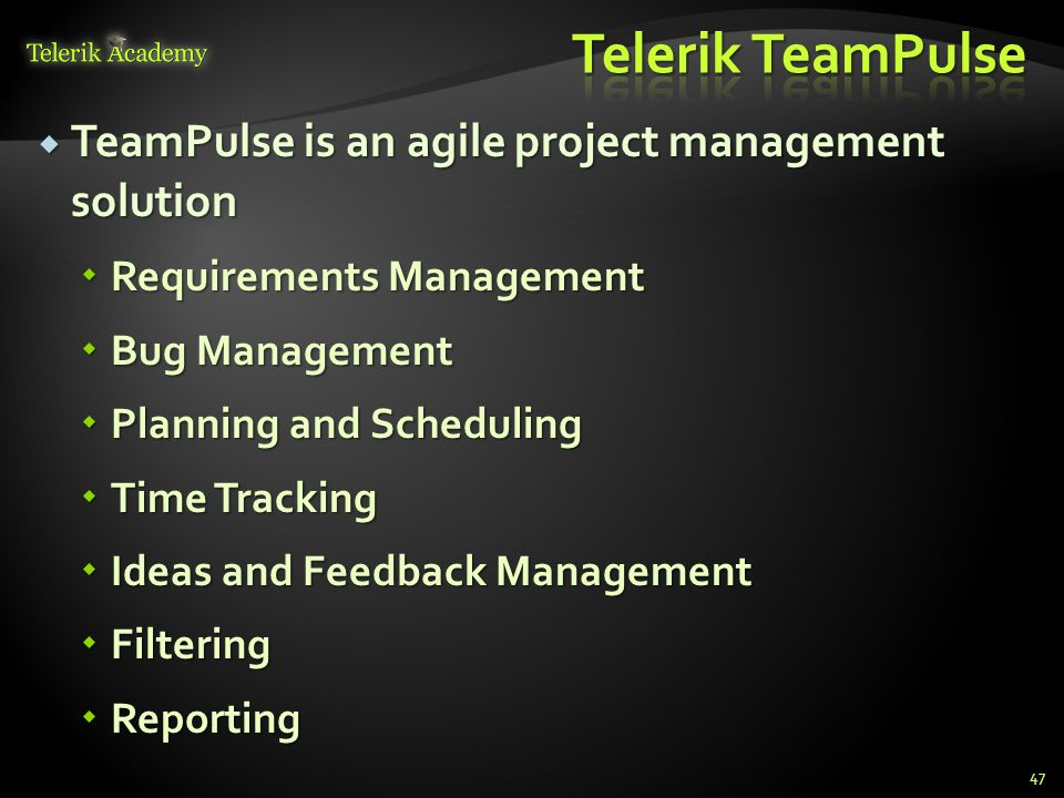 TeamPulse is an agile project management solution TeamPulse is an agile project management solution Requirements Management Requirements Management Bug Management Bug Management Planning and Scheduling Planning and Scheduling Time Tracking Time Tracking Ideas and Feedback Management Ideas and Feedback Management Filtering Filtering Reporting Reporting 47