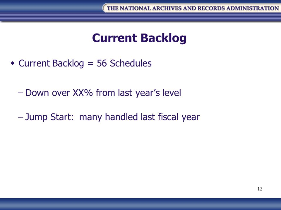 Current Backlog Current Backlog = 56 Schedules –Down over XX% from last years level –Jump Start: many handled last fiscal year 12