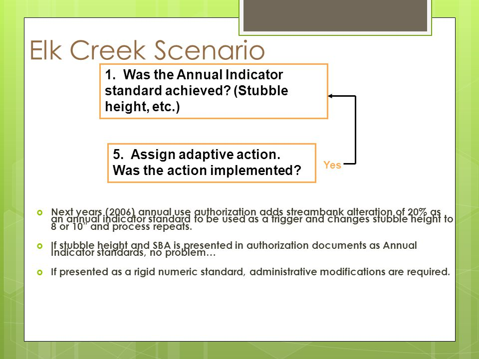 Elk Creek Scenario Next years (2006) annual use authorization adds streambank alteration of 20% as an annual indicator standard to be used as a trigger and changes stubble height to 8 or 10 and process repeats.