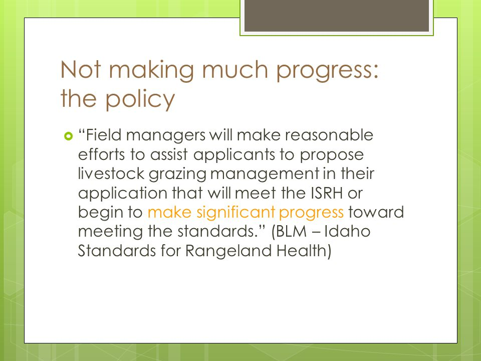 Not making much progress: the policy Field managers will make reasonable efforts to assist applicants to propose livestock grazing management in their application that will meet the ISRH or begin to make significant progress toward meeting the standards.