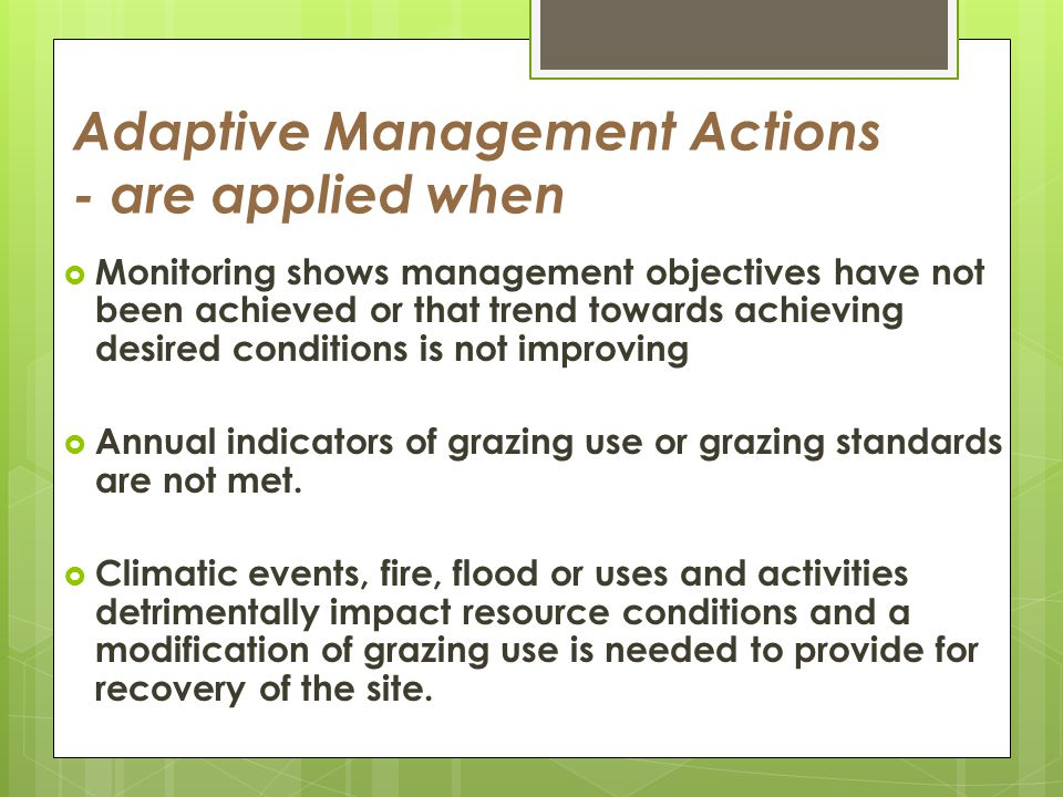 Adaptive Management Actions - are applied when Monitoring shows management objectives have not been achieved or that trend towards achieving desired conditions is not improving Annual indicators of grazing use or grazing standards are not met.