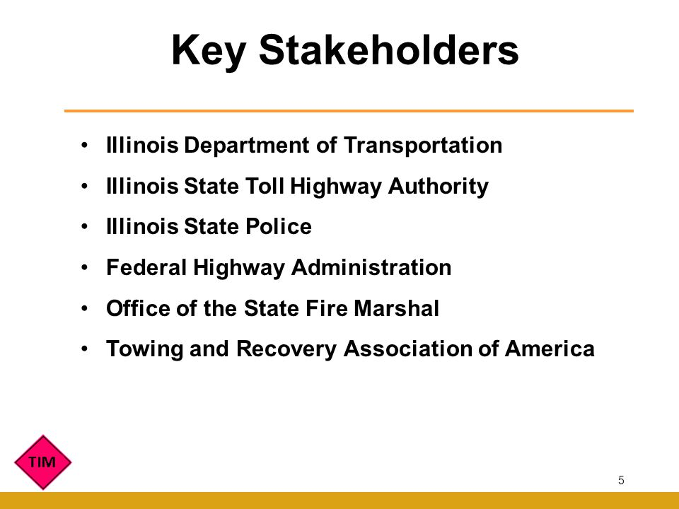 Illinois Department of Transportation Illinois State Toll Highway Authority Illinois State Police Federal Highway Administration Office of the State Fire Marshal Towing and Recovery Association of America Key Stakeholders 5