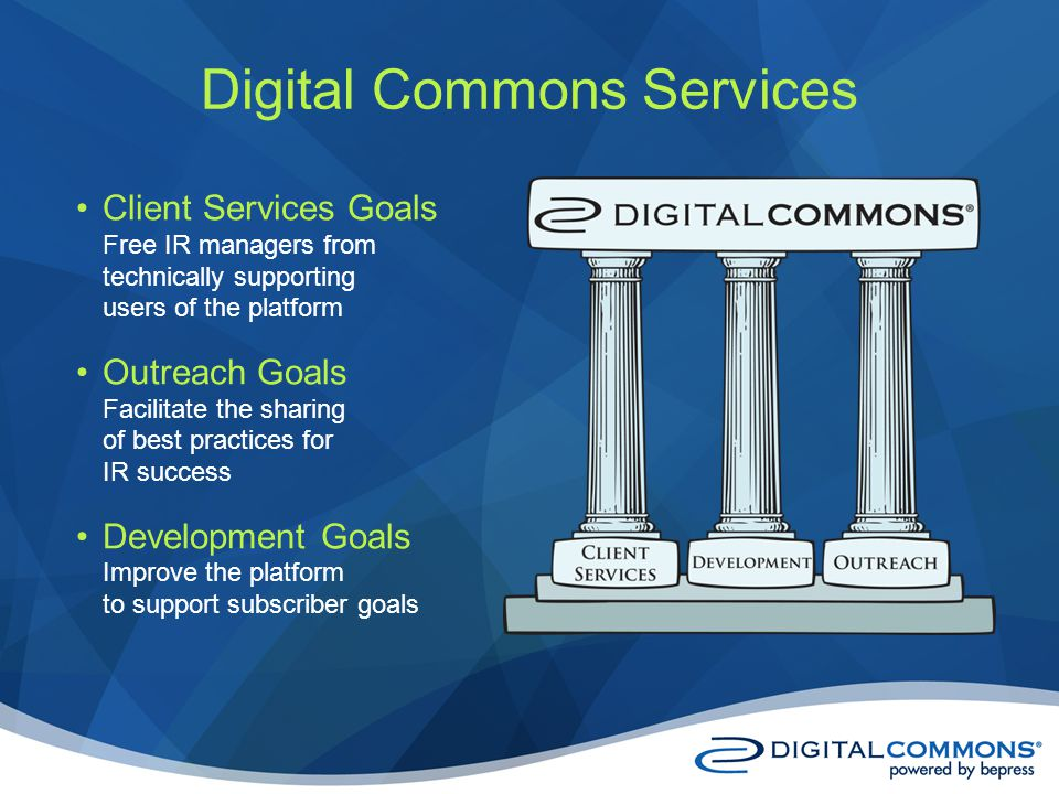 Digital Commons Services Client Services Goals Free IR managers from technically supporting users of the platform Outreach Goals Facilitate the sharing of best practices for IR success Development Goals Improve the platform to support subscriber goals