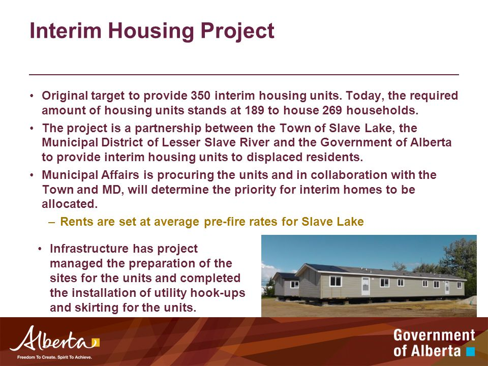 Interim Housing Project Original target to provide 350 interim housing units.