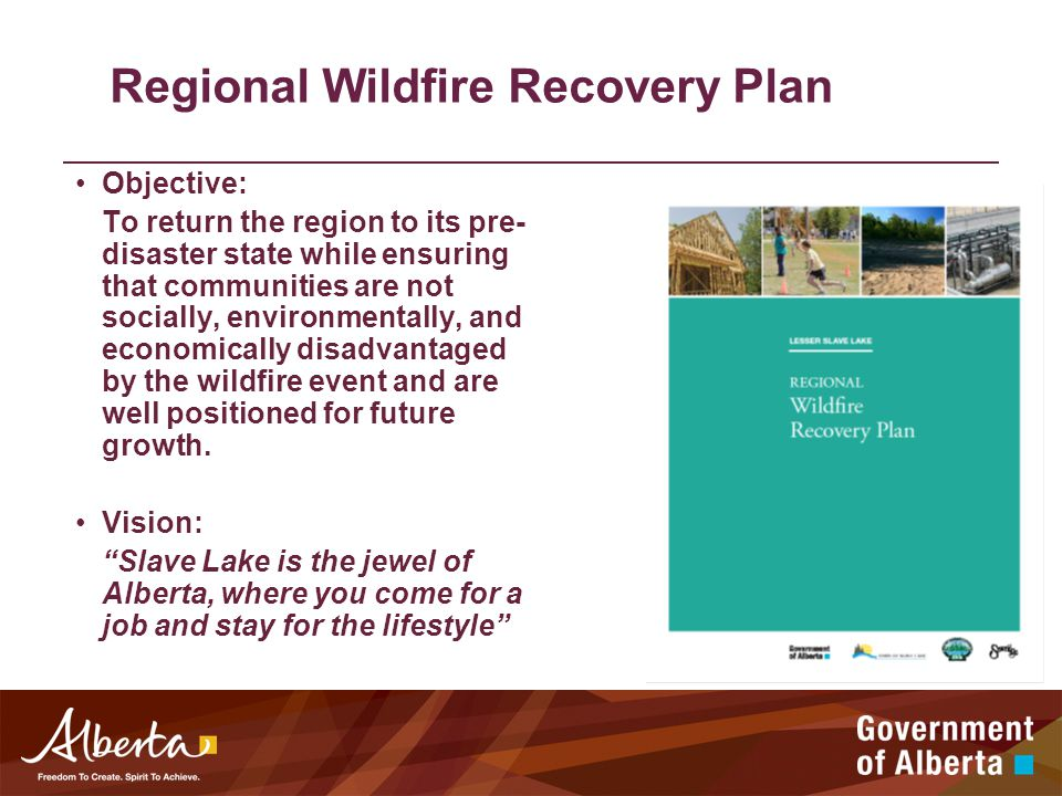 Regional Wildfire Recovery Plan Objective: To return the region to its pre- disaster state while ensuring that communities are not socially, environmentally, and economically disadvantaged by the wildfire event and are well positioned for future growth.